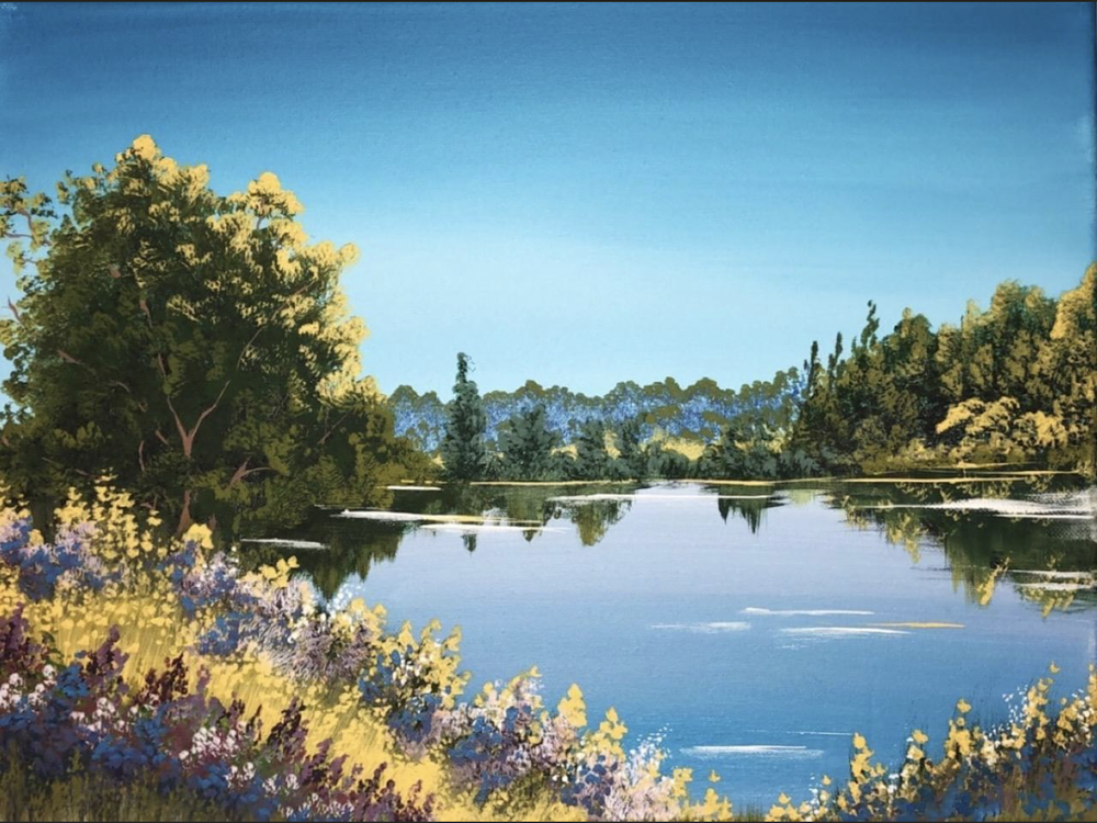 A bright summer lake scene with vibrant blues. Size: 12 x 16