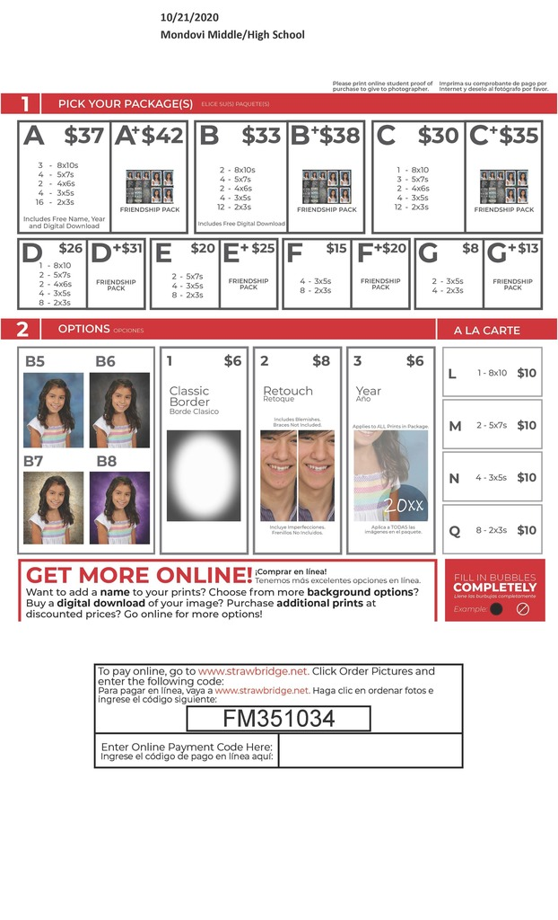 Order form for school pictures