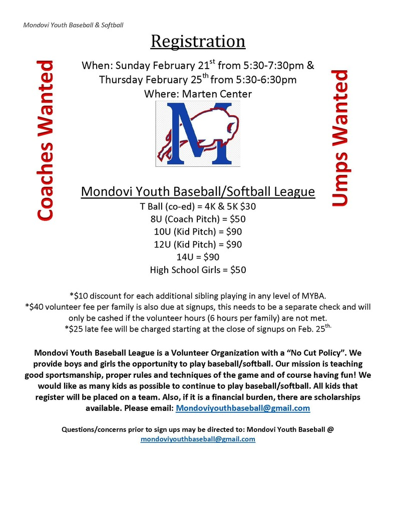 Youth Baseball/Softball Registration flyer
