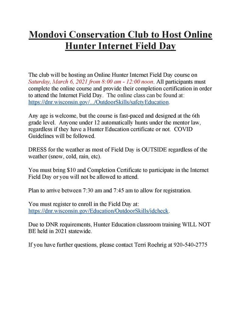 Hunter Education Flyer
