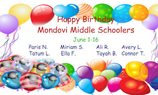 Middle School June 1-16 Birthdays
